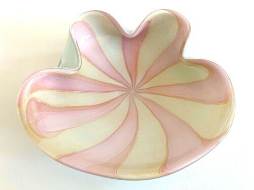 MODERNIST BARBINI MURANO ART GLASS PINK WHITE GOLD LEAF PINWHEEL SWIRL LRG BOWL