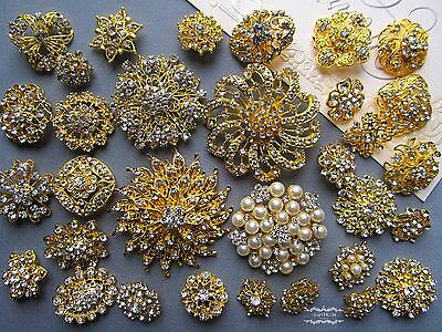 Gold Brooch Lot 32 Mixed Pin Wholesale Rhinestone Pearl Crystal Wedding Bouquet
