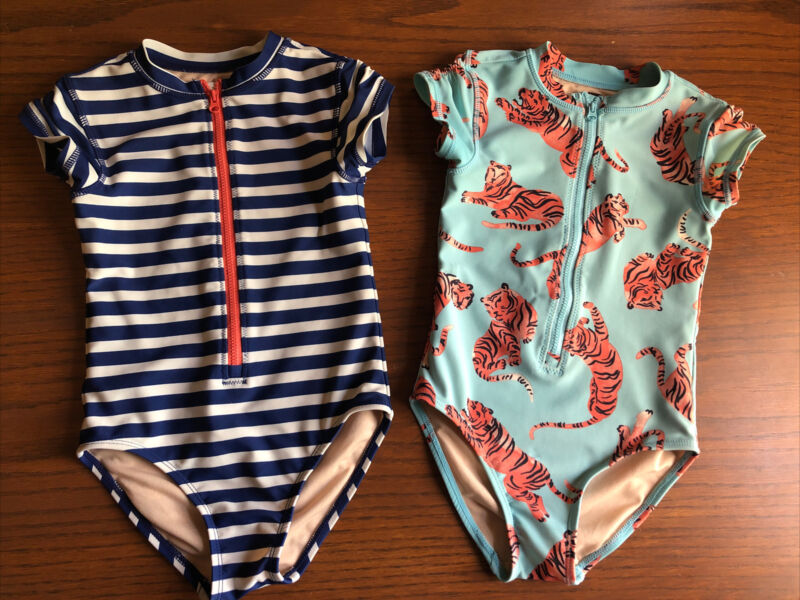 Tea collection girls Size 5 Swimsuits, Lot Of Two Tiger Swim Suit, Navy Striped