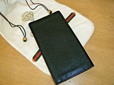 Vintage Gucci Black Textured Leather Long Wallet Organizer with Gucci dust bag