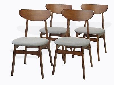 Brown Wood Side Chair - Modern Set of 4 Yumiko Dining Kitchen Side Chairs Solid Wood Medium Brown