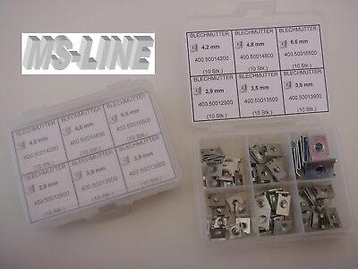 Federmutter Blechmutter Schnappmutter Sortiment 2,9 - 6,5 / 60 Stk