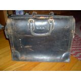 VINTAGE-1950'S- BLACK DOCTORS BAG/SATCHEL-HAS A LOT OF WEAR - HAS INITIALS W D K