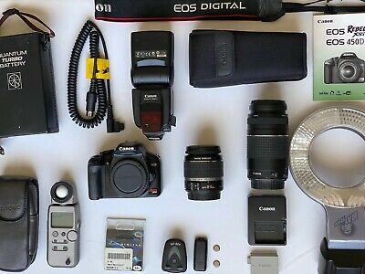 Canon EOS Rebel XSi / 450D DSLR Camera w/ 2 Lens 18-55 & 75-300 + More(see pics)
