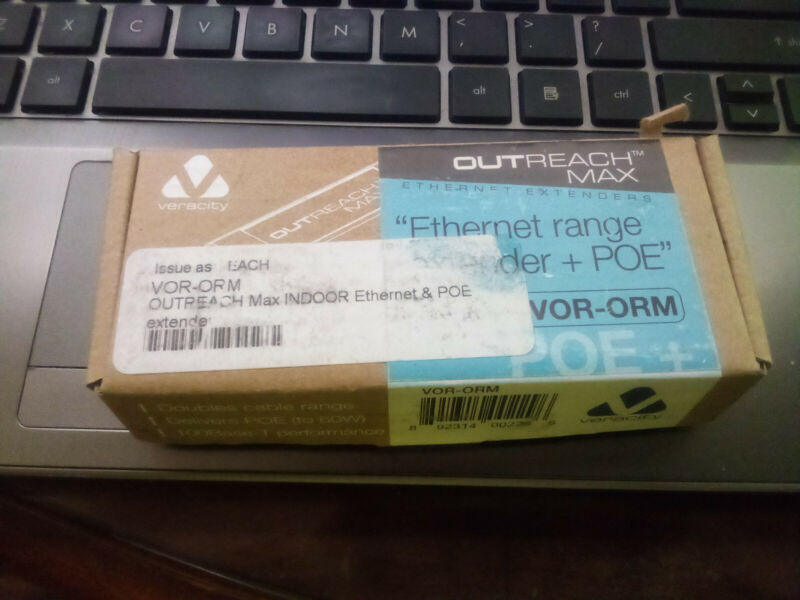 Veracity VOR-ORM, Indoor Ethernet extender WITH POE to 60w, 100Base T.