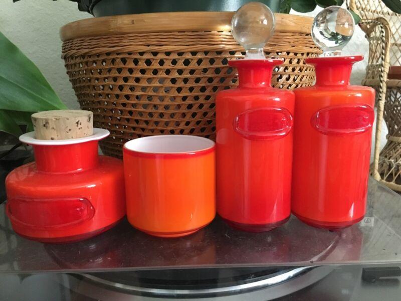 kastrup holmegaard coral and opal Glass Glassware Orange Mod Vase Scandinavian