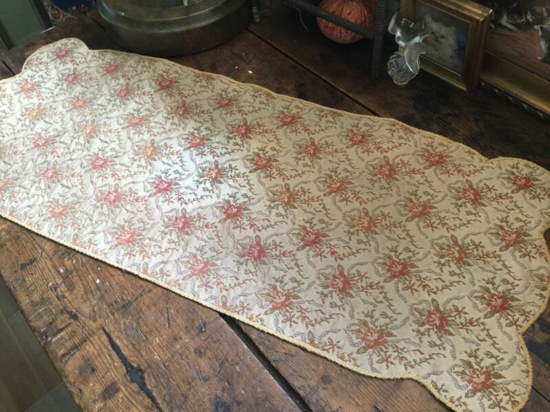 Antique Vintage Table Runner~Dresser Scarf Brocade with All Over Floral Motif