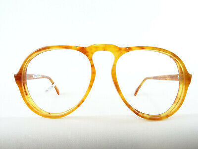 Vintagebrille Brille für Männer große Tropfenform caramelbraun Pilotbrille Gr. L