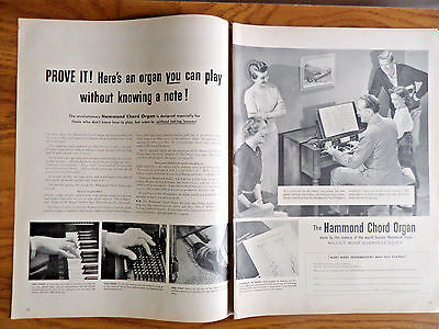 1951 Hammond Cord Organ Ad  You can Play without Knowing a Note
