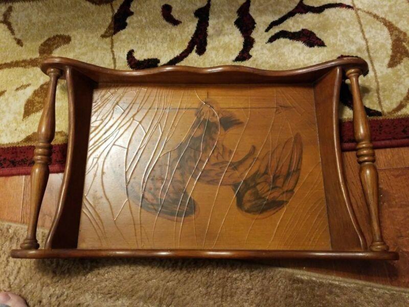 Vintage/Antique LARGE Wooden Folk Art Platter Tray With Eagle