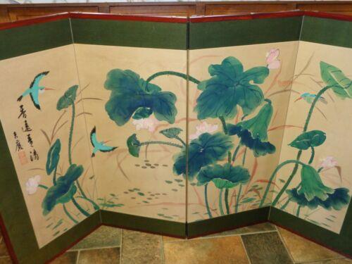 Vtg Japanese Folding Screen Panel Byobu Divider Wall Art Chinoiserie