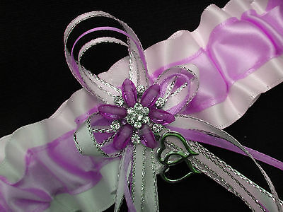 Simply Perfect LAVENDER and WHITE Satin GARTER Prom Formal Bridal WEDDING - Lavender And White Wedding