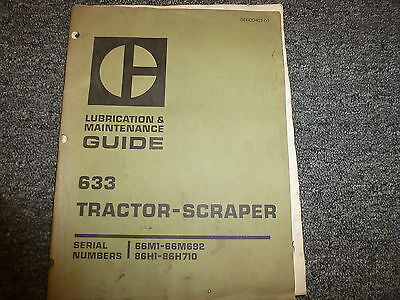 Caterpillar Cat 633 Tractor Scraper Lubrication Maintenance Shop Service Manual