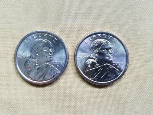 2 Golden Sacagawea Dollar Coins BU - 2000 P and D - From Uncirculated Mint Rolls