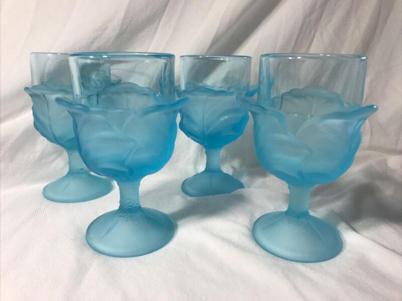 "4 ~ L. G. Wright ~ Viking Glass BLUE CABBAGE LEAF  Wine Goblets * 4 3/4"" Glasses"