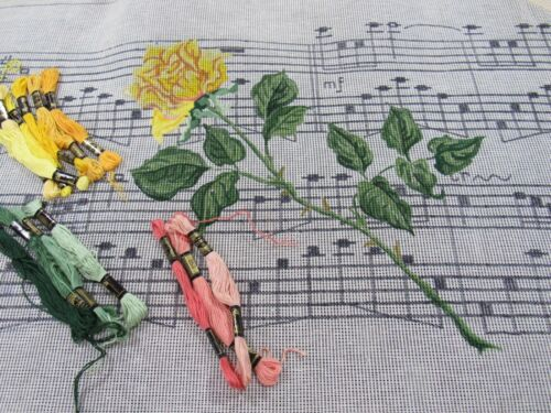 """Hand Painted Needlepoint Canvas Kit """"YELLOW ROSES & Music""""  Piano Bench Cover"""