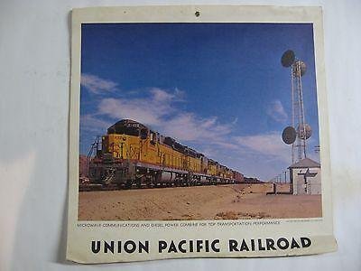 UNION PACIFIC LARGE DOUBLE SIDED RAILROAD CALENDAR Mid 1960's