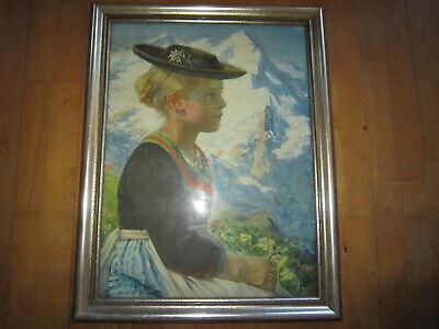 in Tracht Tirol Berge 54 x 69 cm im goldenen Holzrahmen (Mädchen In Tracht)