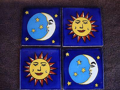 Lot of 4 Mexican Tile Sun and Moon 4x4, Wall art, talavera,