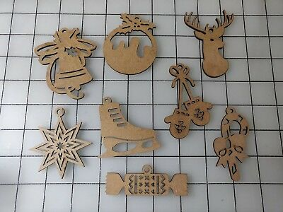 8 pc LOT wood cut out candy buck crafts Christmas ornament 2 1/2 in FREE SHIP
