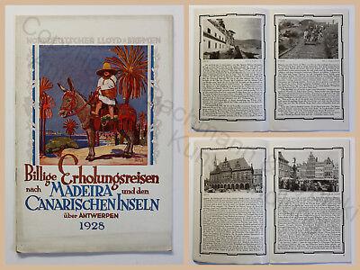 Orig Prospekt Norddeutscher Lloyd Bremen Erholungsreisen Madeira Canaren 1928 xz