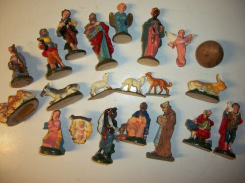 Vintage Miniature Nativity Set Old Religious Decoration
