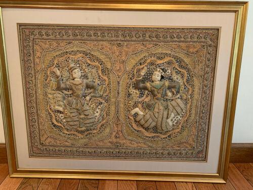 Antique Framed Burmese Bead & Sequin KALAGA Tapestry-Myanmar