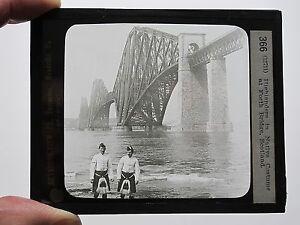 c-1890-FORTH-BRIDGE-SCOTLAND-HIGHLANDERS-IN-NATIVE-COSTUME-MAGIC-LANTERN-SLIDE