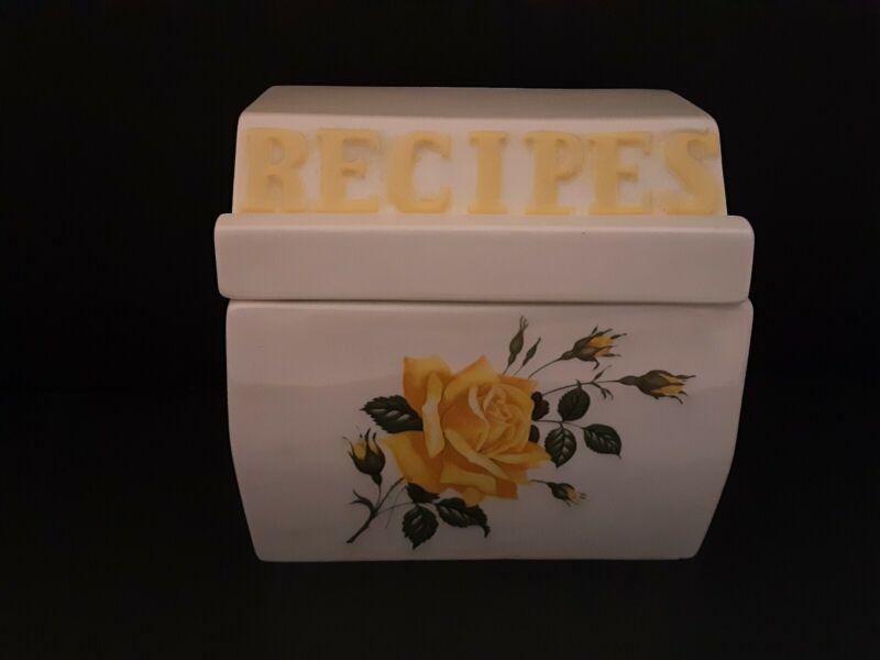 Vintage Ceramic Recipe Box Yellow Rose