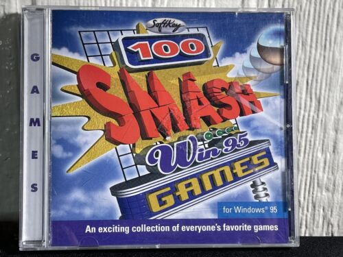 Computer Games - Vintage Computer 100 GAMES SMASH WIn95 by SoftKey Windows 95 CD ROM Disc