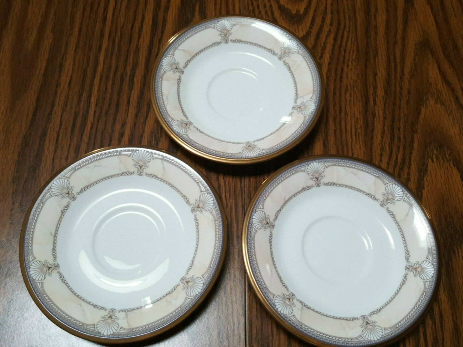 3 Noritake Pacific Majesty 9771 Bone China Japan Saucers Only No Cup Pink Shell - $12.95