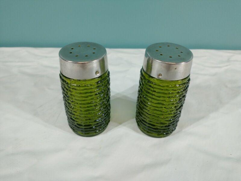 Vintage Soreno Avocado Green Salt & Pepper Shaker Anchor Hocking Glass 1960 1970