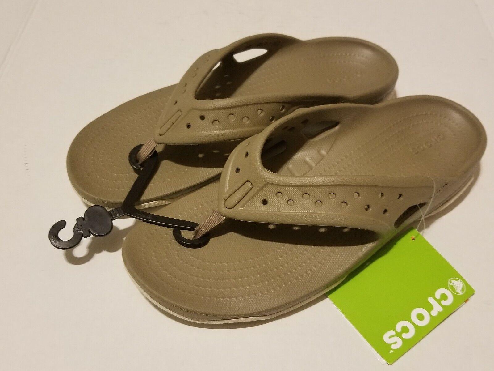 Men's Crocs Swiftwater Deck Flip Flop Sandal  Khaki/Stucco