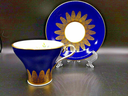 Aynsley Tea Cup and Saucer Cobalt Blue With Gold Gilt Detail Rose Bouquet in Cup
