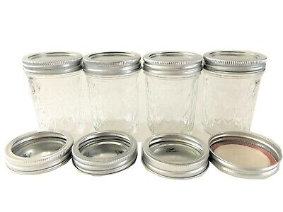 Mason Jelly Jars (Ball Mason Jar Jelly Jars 8 oz. Quilted Crystal Regular-Lot of 4+4 Extra)