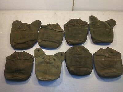 Vintage Early Vietnam Canteen cover OD green snaps alice clips insulated