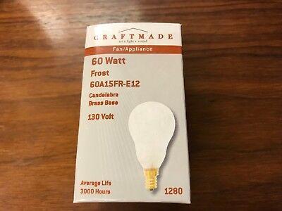 (12) Craftmade 60 Watt Frost 60A15FR-E12 Candelabra Brass Base 130v Light Bulbs