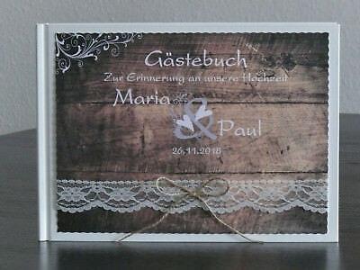 Gästebuch Hochzeit Holz Hochzeitsbuch Vintage Spitze personalisiert Tischdeko ()