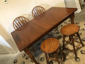 Solid oak table six chairs and four stools