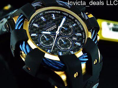 NEW Invicta Men's 48mm Bolt Sport Chronograph Black Carbon Fiber Dial SS Watch