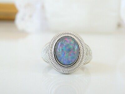Chunky Designer Sterling Silver 925 Blue Opal Doublet Cable Ring Size 9