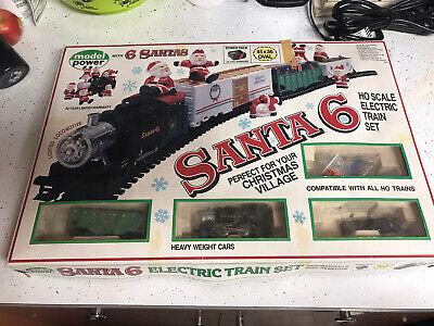 Vintage Santa 6 Electric Train Set HO Scale With Box Christmas Tested Fine