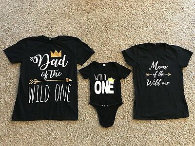 Wild One Year Old Baby One-piece 1st Birthday W/Mom And Dad Shirts Set