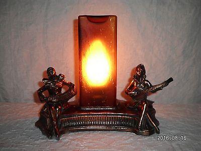 Vintage Lamp Metal Pierrot Musicians W/ Rare Art Deco Amber Glass SQUARE Shade