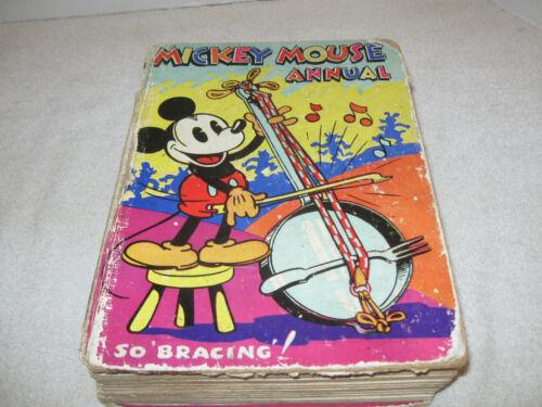 "RARE VINTAGE HB DISNEY BOOK - MICKEY MOUSE ANNUAL 1935 ""SO BRACING!"" DEAN & SON"