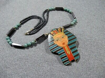 Vintage egyptian revival inlaid chipped stones & bronze resin pharaoh necklace