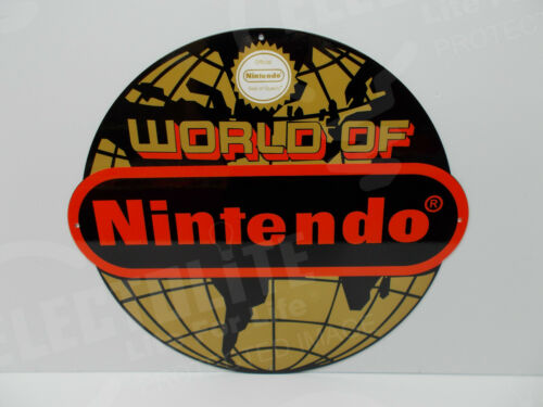"World of NINTENDO Colorful Die Cut Steel Enamel Sign. 16 1/2"" High by 18"" Wide"