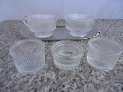 Milchkännchen Zuckerdose Glas mit Tablett und 3 kleinen Bechern