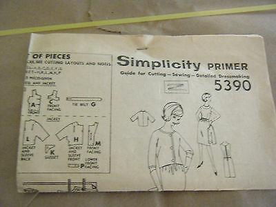 Vintage 1960's Simplicity 5390 Paris Fashion Dress & Jacket Pattern-Sz 14 Bst 32