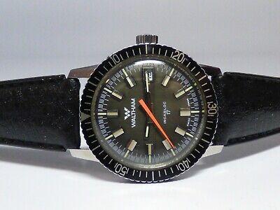 Vintage Waltham Dive Watch Date 17 Jewels 36mm Case